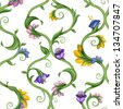 seamless natural lattice pattern with leaves and flowers - stock