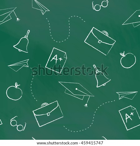 Seamless pattern back to school. green blackboard written with white chalk cap, hat, bag, apple, Paper Airplane, rating A. School background for design covers notebooks and textbooks