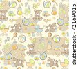 Seamless pattern - Cute baby blue pattern - vector version also available - stock photo