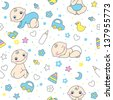 Seamless pattern for baby boys. - stock photo