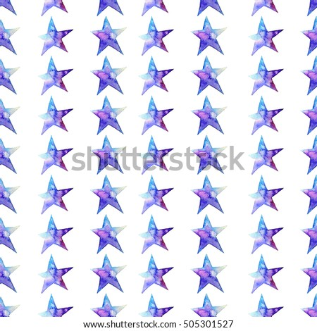 Seamless pattern of Colorful watercolor star icon.  illustration on white background. Blue and violet. Isolated. Hand-drawn