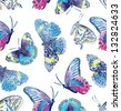 Seamless pattern of exotic butterflies - stock photo