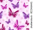 Seamless pattern of flying butterflies in shades of pinks and purples with white flowers over pale pink background. - stock vector
