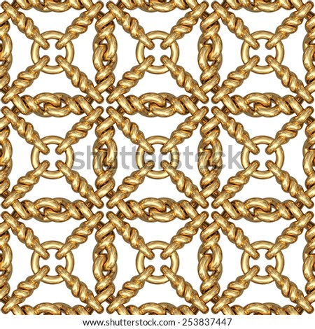 Seamless pattern of gold wire mesh or fence on white background. High resolution 3D image