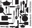 seamless pattern of kitchen tools. Raster version. - stock photo