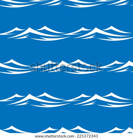 Seamless pattern of pretty white capped waves in a blue ocean or sea