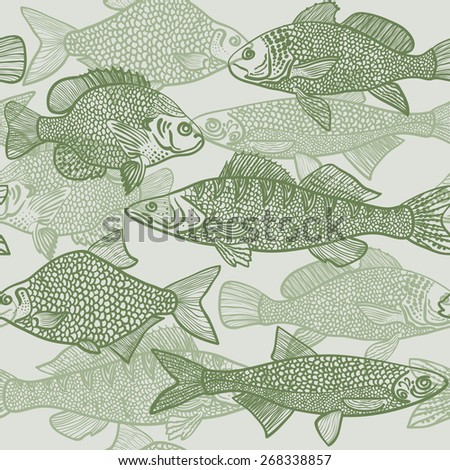 Seamless Pattern Images Fish Vector Black Stock Vector