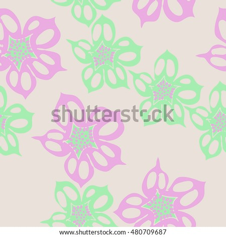 Seamless     pattern of  stylized floral motif,  flowers . Hand drawn.
