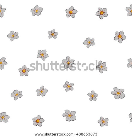 Seamless pattern of stylized floral motif, many small flowers, hole, spots on white background. Hand drawn small gray flowers. Seamless floral background in gray colors.