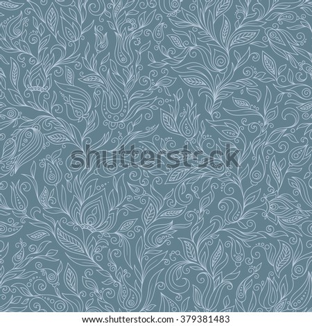 Seamless Pattern. Paisley Flowers Illustration Design Elements