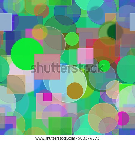 Seamless pattern, Random circle, square & rectangle shape, digital generative art for design texture & background