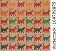 Seamless pattern. Texture with colorful cats with curved tails. Can be used for textile, website background, book cover, packaging. - stock photo