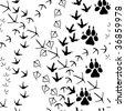 Seamless pattern with animal paw tracks. jpg version - stock photo