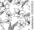 Seamless pattern with black lilies on a white background - raster version - stock photo
