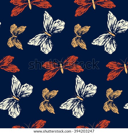 Seamless pattern with butterflies on a dark  background.  Hand-drawn illustration.