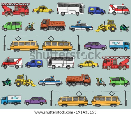 Seamless pattern with cars. Traffic. Doodle set.