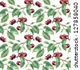 Seamless pattern with cherry. Watercolor illustration. - stock photo
