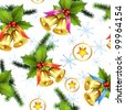 Seamless pattern with christmas bells - stock photo