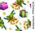 Seamless pattern with christmas gifts and bells - stock photo