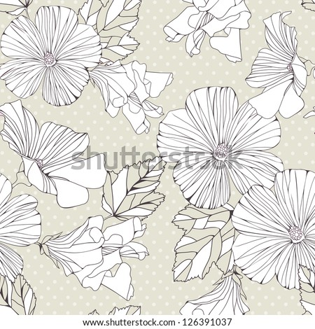 Seamless pattern with decorative  flowers on grey background.