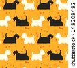 Seamless pattern with dogs silhouettes. Scottie and westie. Scottish terrier and west highland white terrier. - stock vector