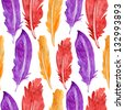 Seamless pattern with feathers - stock photo