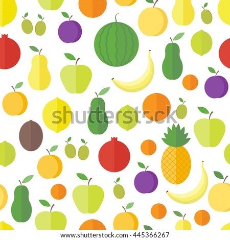 Seamless pattern with fresh fruits and berries on a white background