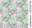 Seamless pattern with fuchsia flowers. Watercolor illustration. - stock photo
