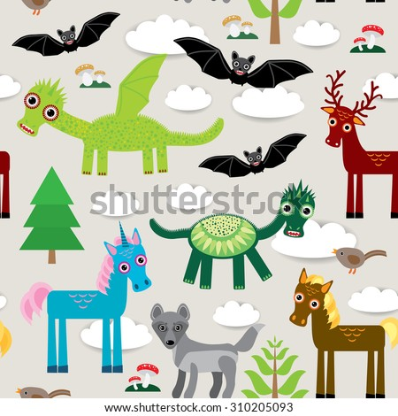 Seamless pattern with funny dragon bats unicorn horse deer bird wolf  illustration