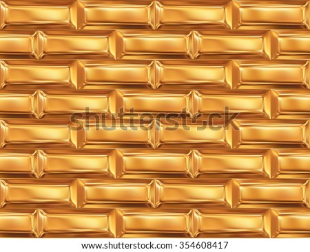 Seamless pattern with gold ingots or golden bullions bars, abstract background.