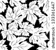 Seamless pattern with grape leafs. Raster version, vector file available in portfolio. - stock photo