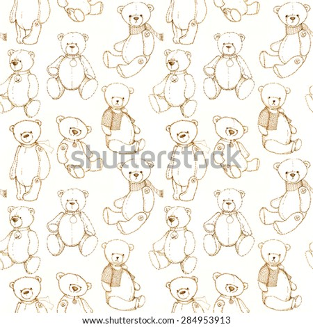 Seamless pattern with hand drawn teddy bear.