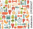 seamless pattern with healthy life icons  - stock