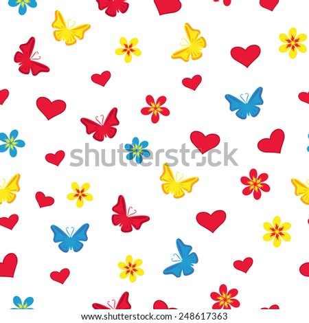 Seamless pattern with hearts, flowers, butterflies and hearts on the white background
