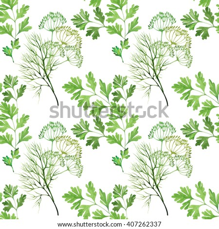 seamless pattern with herbs in watercolor style