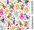 seamless pattern with kids wearing costumes (vector available in my gallery) - stock vector