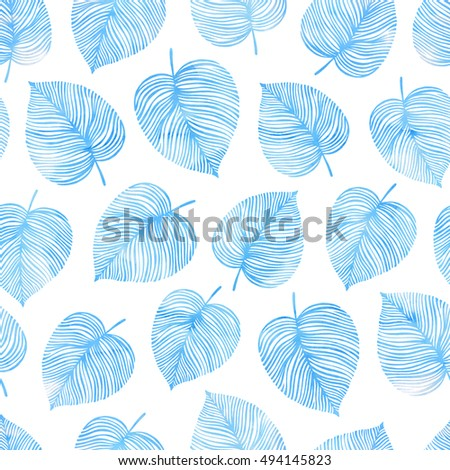 Seamless pattern with leaves. Good for fashion fabric print, surface texture, pattern fills, web page background.