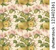Seamless pattern with pears and flowers. Watercolor illustration. - stock photo