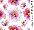 Seamless pattern with peony flowers. Watercolor illustration. - stock