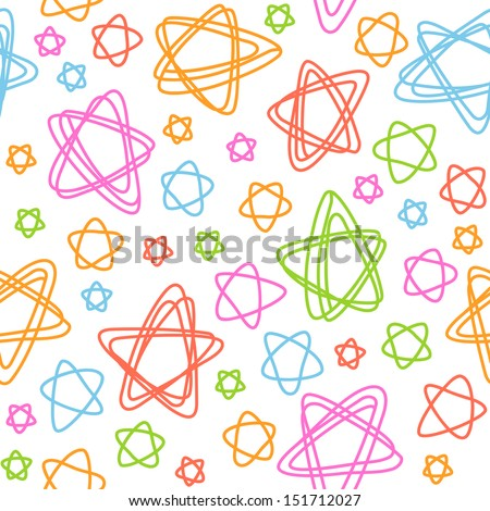 Seamless pattern with stars of doodles. Abstract colorful christmas background. Simple decorative cute illustration in childish hand drawn style. Linear texture for print, web, textile, cover, paper