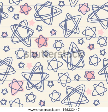 Seamless pattern with stars of doodles on sheet of notebook. Christmas abstract ornamental background. Simple cute illustration with stylized sky in childish hand drawn style. Texture for print, web