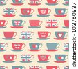 Seamless pattern with teacups. - stock vector