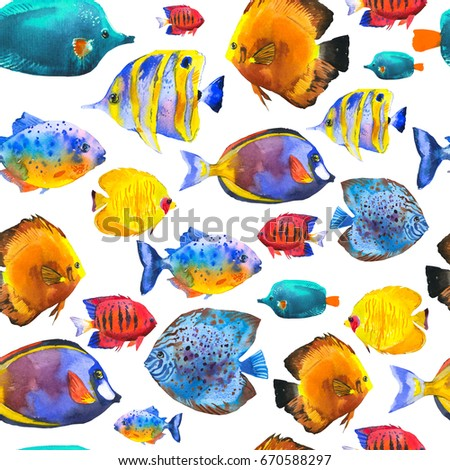 Vector illustration sketches fish handdrawn seamless stock for Seamless fish tank