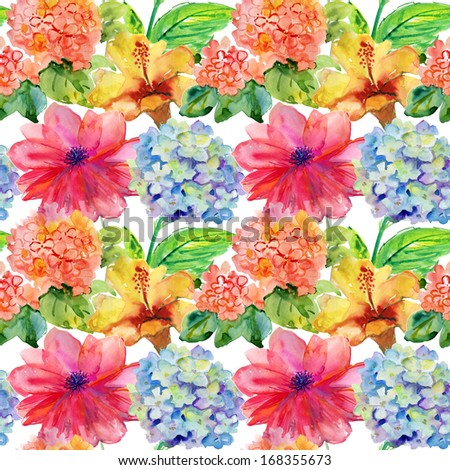 Seamless pattern with yellow, blue  and red flowers. Watercolor illustration.