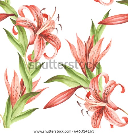 seamless pattern withtiger lily hand draw watercolor illustration