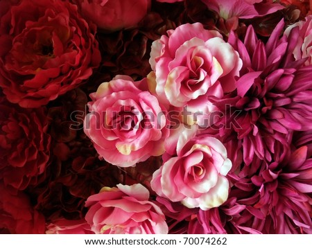 Seamless Pink and Red Fabric Roses Background