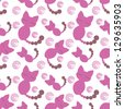 seamless pink kitten background - stock vector