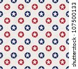 Seamless polka dot pattern with stars in american national flag colour gamut. Raster version. - stock photo