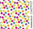 Seamless polka dots background. Use for greeting cards, birthday, baby shower, baptism, christening, textiles, scrap-booking, gift wrapping paper. See my folio for other colors. - stock vector