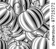 Seamless pumpkin background black and white - stock vector